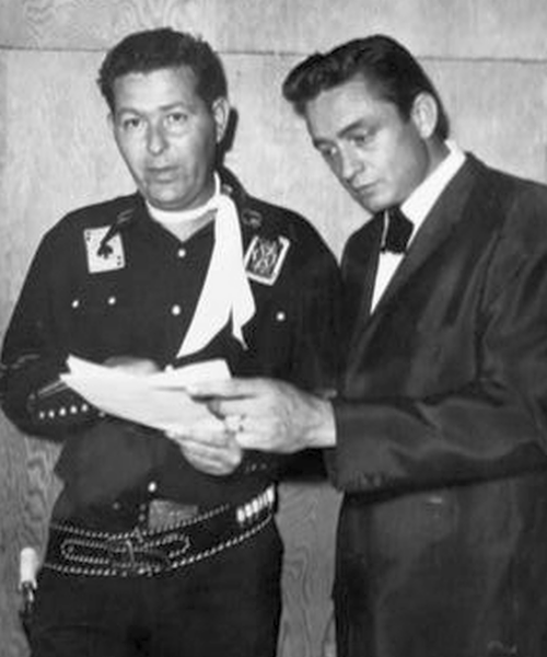 Jack Wayne and Johnny Cash, in an undated photo.