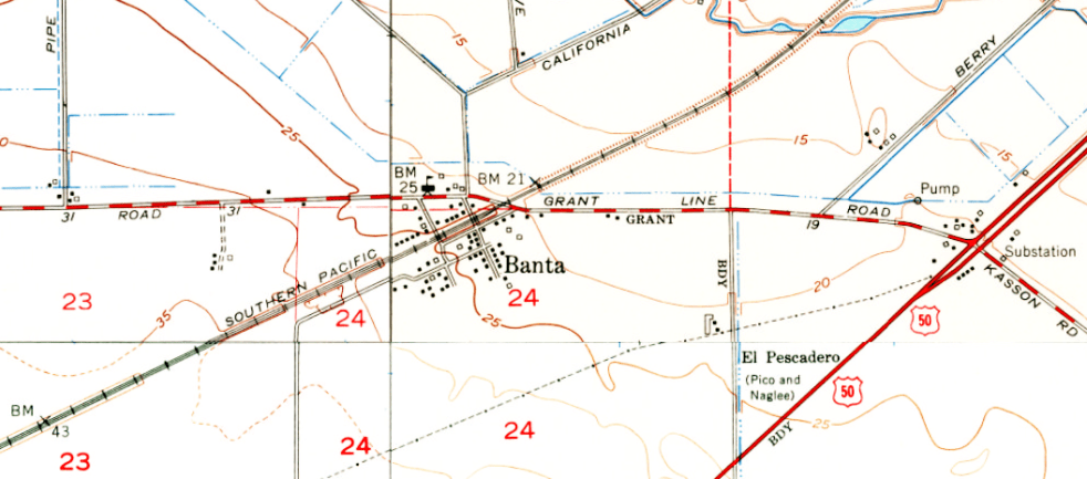 Banta Area USGS Map