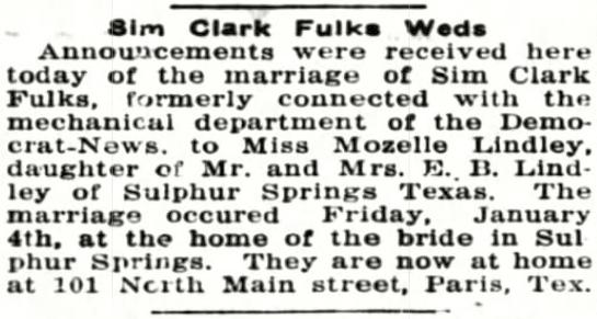 Clark Fulks Weds (Image)