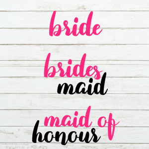 Bridal Party SVG Bundle - Wedding Svg - Bridesmaid Svg- Bride Svg - Maid of Honour SVG - Cricut - Cutting File - Png svg dxf eps - diy bride
