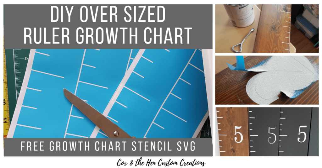 DIY Over Sized Ruler Growth Chart - Cox & the Hen Custom Creations - Do you want to make your own over sized ruler growth chart? Check out my tutorial and download your Free growth chart stencil SVG.