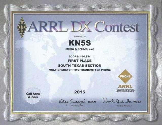 KN5S 2015 ARRL DX contest