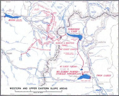 A map of the Fry-Ark system. Aspen, and Hunter Creek, are shown in the lower left. Fryingpan-Arkansas Project western and upper eastern slope facilities.