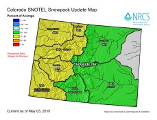 Statewide snowpack map May 3, 2010 via the NRCS