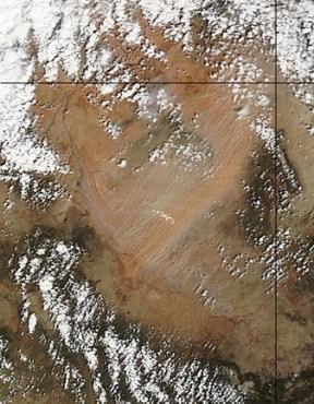 Dust streaming across Four Corners April 29, 2009 via MODIS