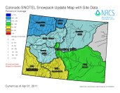 Colorado snowpack basin-filled map April 3, 2011 via the NRCS.