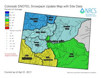 Colorado snowpack basin-filled map April 3, 2011 via the NRCS.