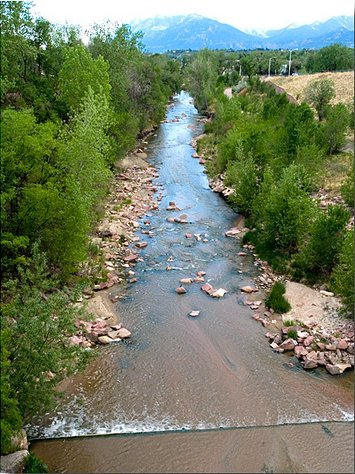 Fountain Creek through Colorado Springs.