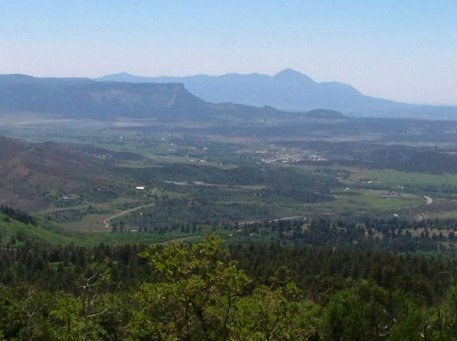 Mancos and the Mesa Verde area from the La Plata Mountains.