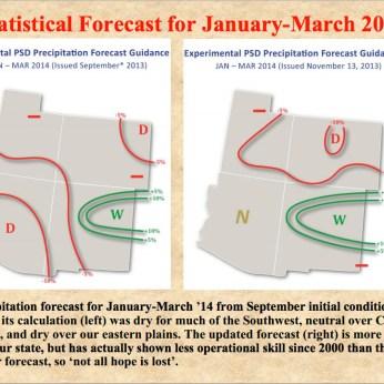 Experimental Precipitation Forecast January 2014 to March 2014 via Klaus Wolter