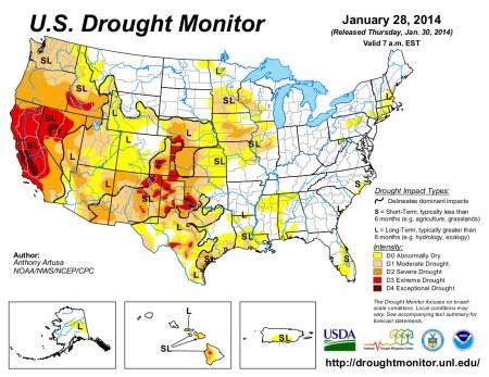 US Drought Monitor January 28, 2014