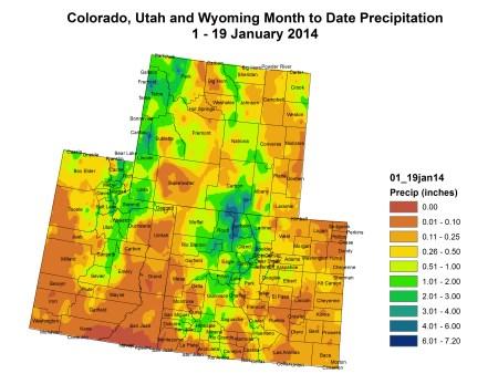 Upper Colorado River Basin month to date precipitation through January 19, 2014