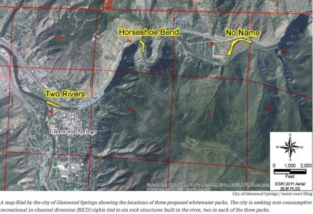 City of Glenwood Springs proposed whitewater parks via Aspen Journalism