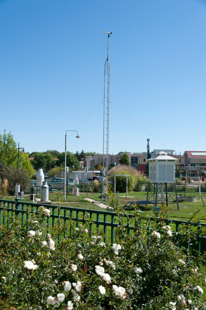 The Fort Collins Weather Station on the Colorado State University campus northwest of Lory Student Center and the Transit Center