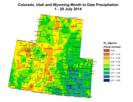 Upper Colorado River Basin month to date precipitation July 1 thru July 20, 2014