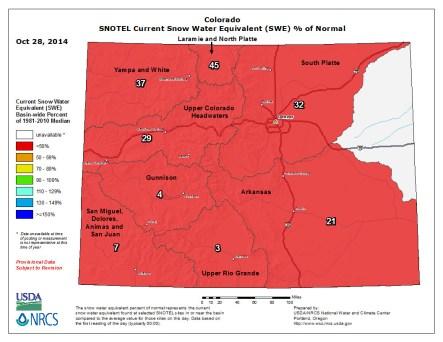 Snow water equivalent as a percent of normal October 28, 2014 via the NRCS