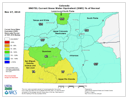 Colorado statewide snowwater equivalent as a percent of normal via the NRCS