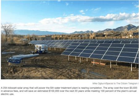 Silt water plant solar array photo via the Rifle Citizen Telegram