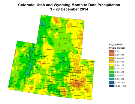 Upper Colorado River precipitation December 1 thru December 28, 2014