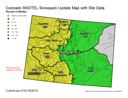 Statewide snowpack March 18, 2015