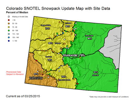 Statewide snowpack map March 25, 2015 via the NRCS
