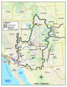 The seven states in the Colorado River Basin were divided into the upper and the lower basin states for river water allocation purposes. (Courtesy U.S. Department of Interior, Bureau of Reclamation)