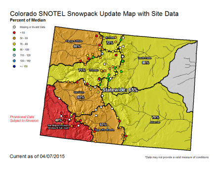 Statewide snowpack map April 7, 2015 via the NRCS
