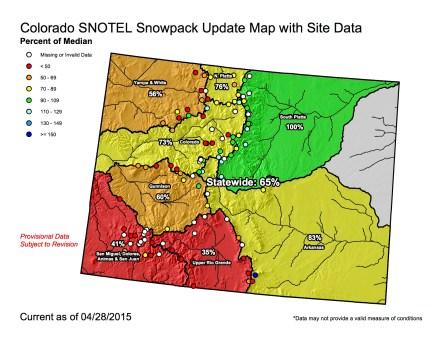 Statewide snowpack April 28, 2015 via the NRCS