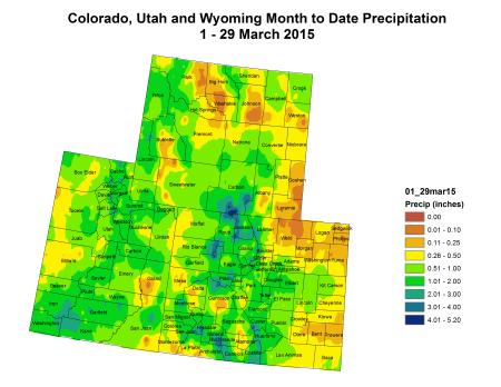 Upper Colorado River Basin precipitation March 1 thru March 29, 2015