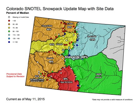 Statewide snowpack map May 11, 2015 via the NRCS