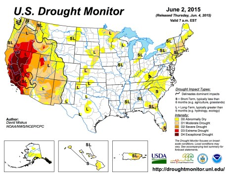 US Drought Monitor June 6, 2015.