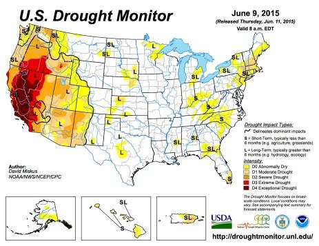 US Drought Monitor June 9, 2015