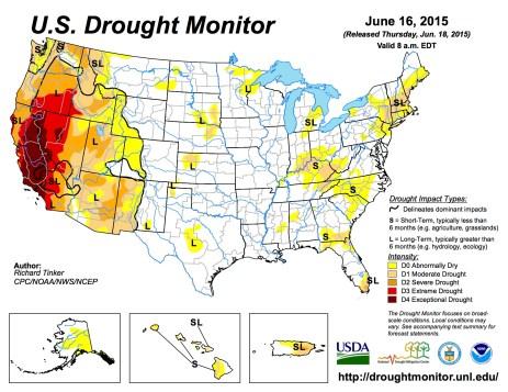 US Drought Monitor June 16, 2015