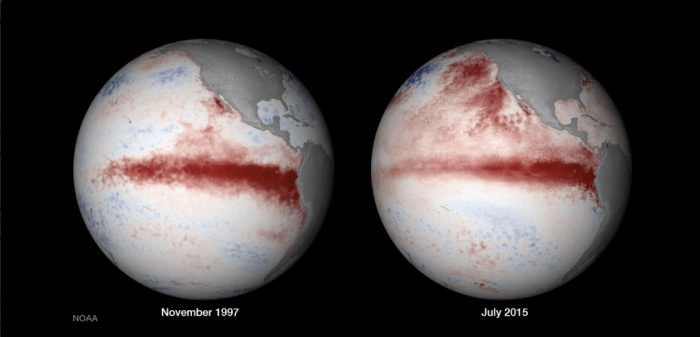 El Niño November 1997 and July  2015