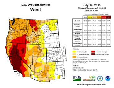 West Drought Monitor July 14, 2015