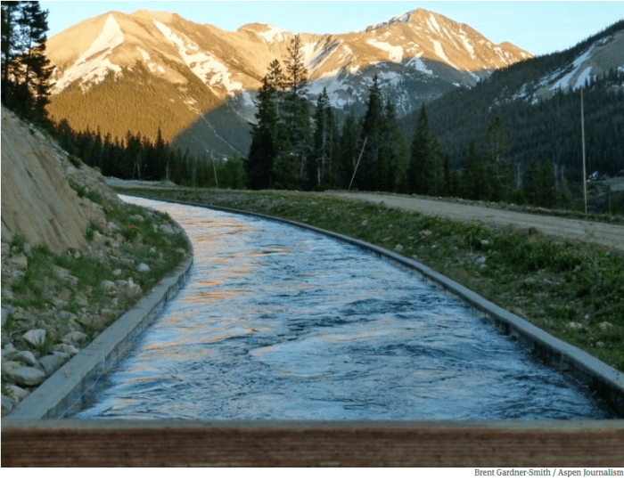 The ditch that moves water from Lost Man Reservoir to Grizzly Reservoir and then under the Divide to the South Fork of Lake Creek and the Arkansas River.