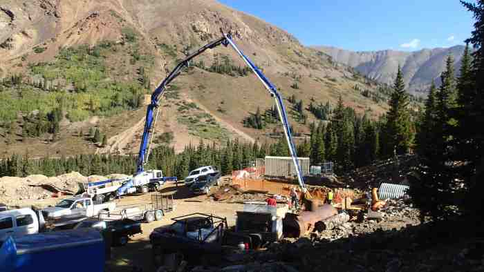 Despite lingering problems at many places, the Pennsylvania Mine in Summit County seems to be one place where contaminated water from hard-rock mining a century ago is finally being abated. Photo courtesy of Jeff Graves, Colorado Division of Reclamation, Mining and Safety