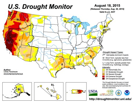 US Drought Monitor August 18, 2015