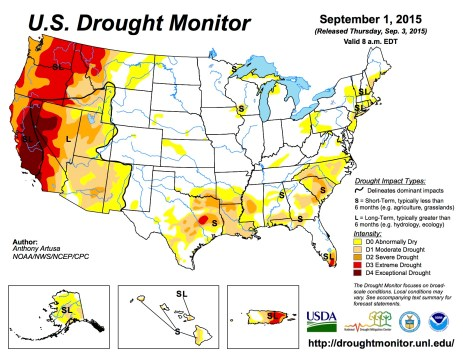 US Drought Monitor September 1, 2015