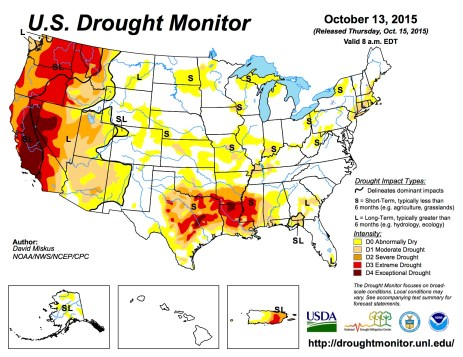 US Drought Monitor October 13, 2015