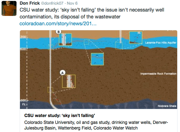 """The issue: """"...it's disposal of wastewater."""" -- Don Frick"""