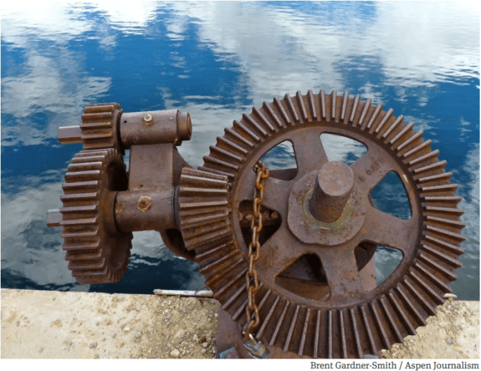 Gears on the top of the dam that forms Lost Man Reservoir, part of the diversion system on the upper Roaring Fork River headwaters.