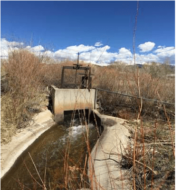 San Pedro Acequia. The headgate of the second oldest acequia in Colorado. Photo by Devon G. Peña