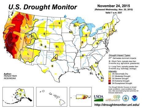 US Drought Monitor November 24, 2015