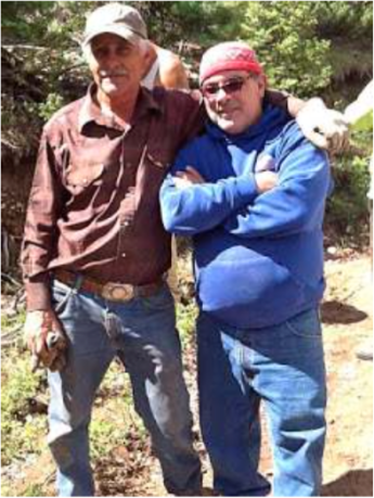 Delmer Vialpando and Devon G. Peña on La Sierra common lands, the 80,000-acre restored land grant of the Culebra acequia farmers. Photo by The Acequia Institute