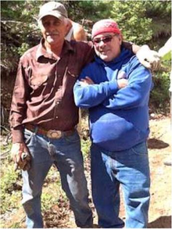 Delmer Vialpando and Devon G. Peña on La Sierra common lands, the 80,000-acre restored land grant of the Culebra acequia farmers. Photo by The Acequia Institute