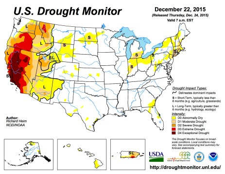 US Drought monitor December 22, 2015