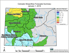 Statewide streamflow forecast January 1, 2016