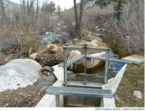 Colorado Water Trust partnered with the city of Aspen on August 10, 2021 to reduce diversions from the Roaring Fork River at the Wheeler Ditch to help boost river flows. The project added up to three cubic feet per second to the river's flow, which will help maintain sustainable water levels. A view of the Wheeler Ditch headgate, looking upriver on the Roaring Fork River. Photo credit: Brent Gardner-Smith / Aspen Journalism