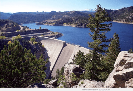 Gross Reservoir in the mountains to the southwest of Boulder. Denver Water hopes to increase the height of the dam 131 feet, to a new height of 471 feet, to store three times as much water, which it says will help it meet increasing demands and to better weather severe droughts.